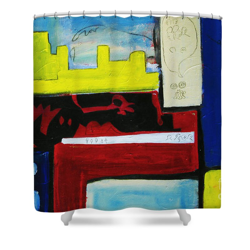 Painting Shower Curtain featuring the painting City Life by Jeff Barrett