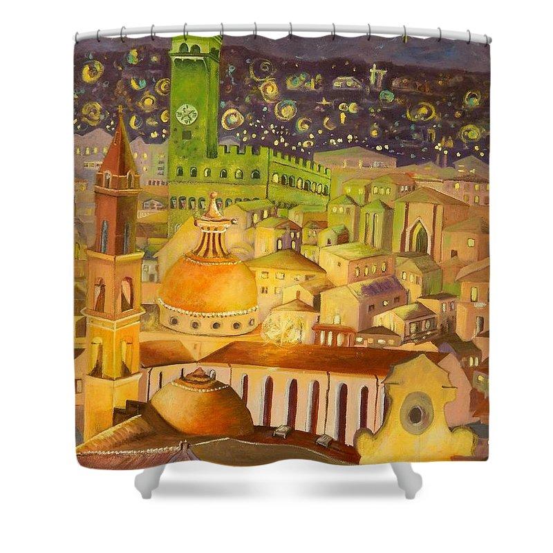 Venice Shower Curtain featuring the painting City Light Star Light by Caroline Street