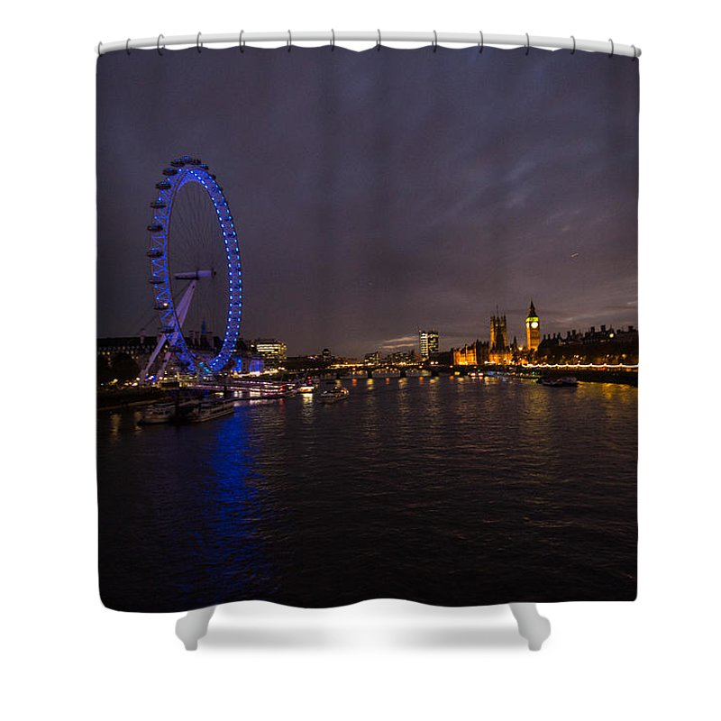 Westminster Shower Curtain featuring the photograph City Lights by Dawn OConnor