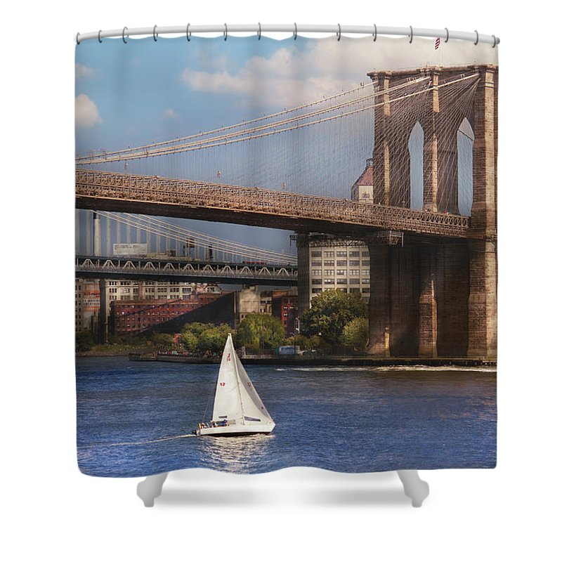 Savad Shower Curtain featuring the photograph City - Ny - Sailing Under The Brooklyn Bridge by Mike Savad
