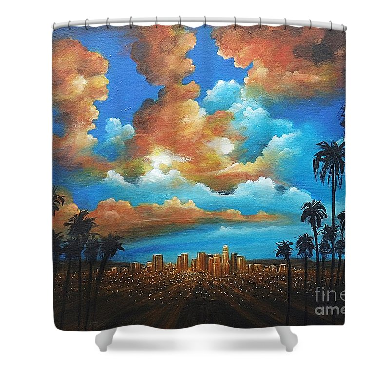 Acrylics Shower Curtain featuring the painting City Of Angels by Artist ForYou