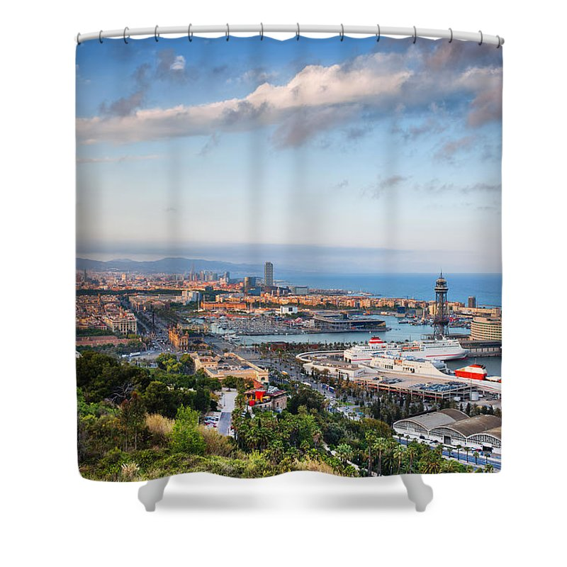Barcelona Shower Curtain featuring the photograph City Of Barcelona From Above At Sunset by Artur Bogacki
