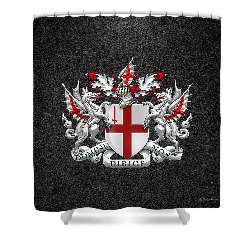 City Of London - Coat Of Arms Over Black Leather Shower Curtain ...