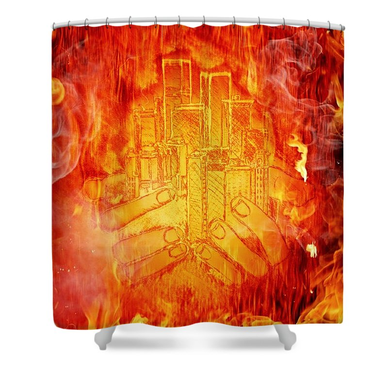 Exceptionnel Sketch Shower Curtain Featuring The Drawing City On Fire By Amanda Struz