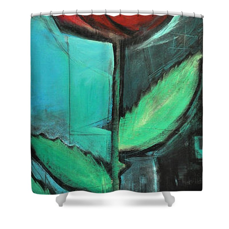 Rose Shower Curtain featuring the painting City Rose - Few Noticed by Tim Nyberg