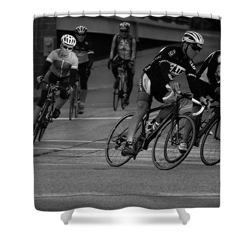 Bicyclist Shower Curtain featuring the photograph City Street Cycling by Donna Lee