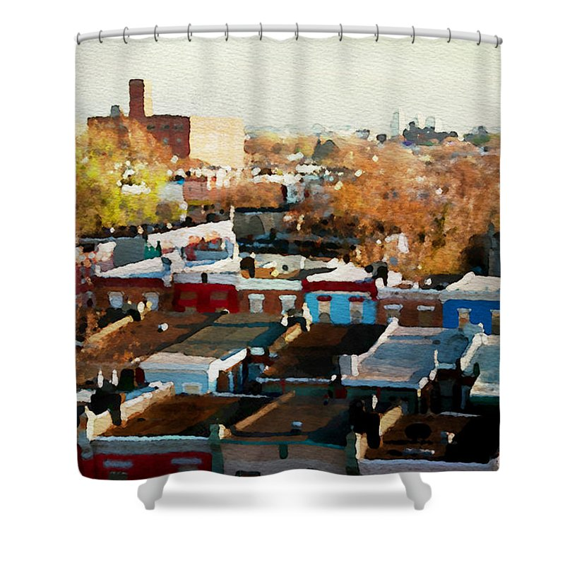 South Philadelphia Shower Curtain featuring the photograph City View Six by Alice Gipson