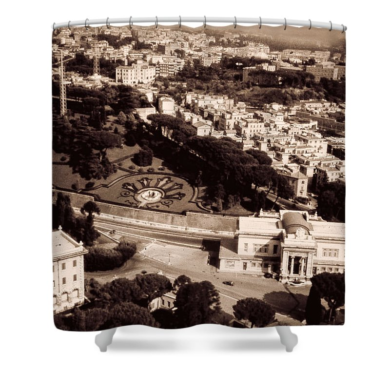 Black And White Shower Curtain featuring the photograph City Vista 2 by Cathy Anderson