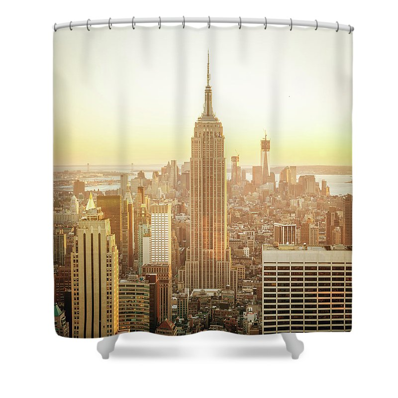 Scenics Shower Curtain featuring the photograph Cityscape Manhattan Sunset New York by Mlenny
