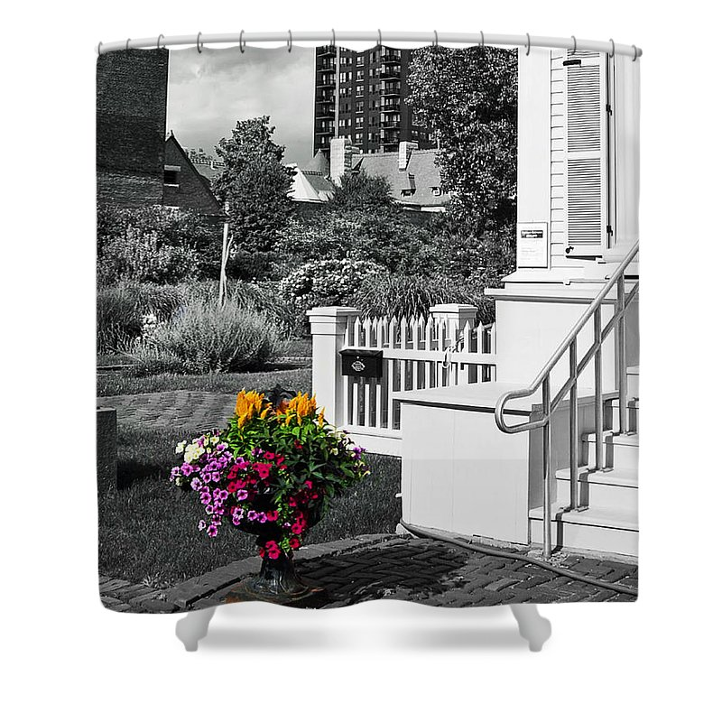 Chicago Shower Curtain featuring the photograph Clark House Flowers 2 by Rick Selin