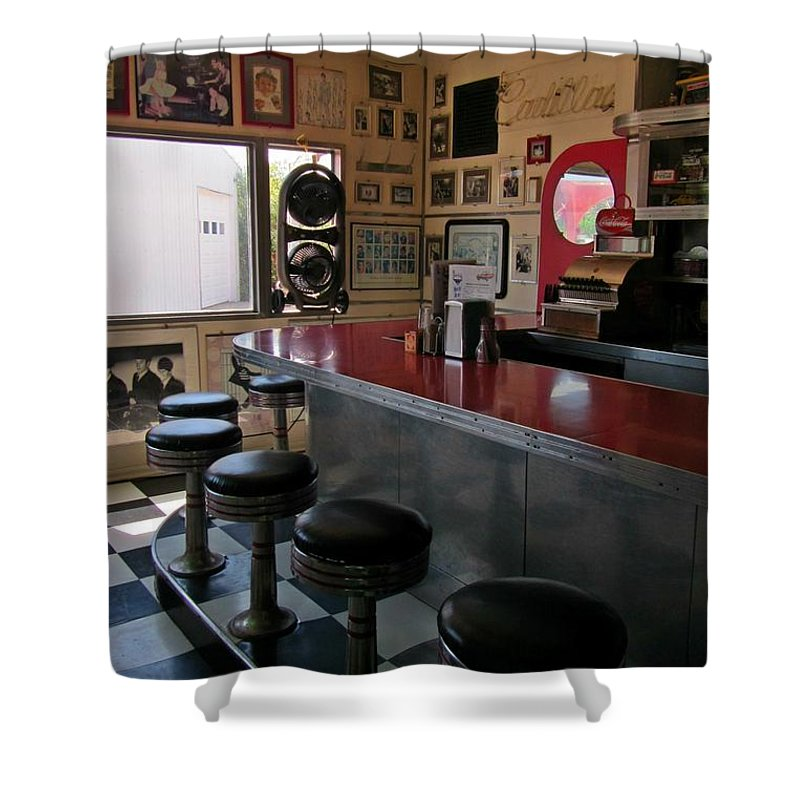 Diner Interior Photographs Shower Curtain featuring the photograph Classic Americana by John Malone