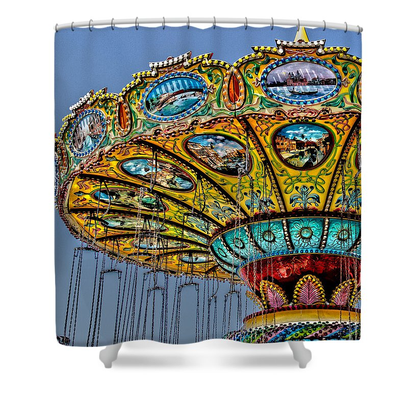 Ocean City Shower Curtain featuring the photograph Classic Amusement Swing by Tom Gari Gallery-Three-Photography