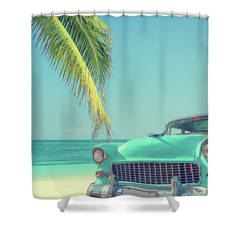 Scenics Shower Curtain featuring the photograph Classic Car On A Tropical Beach With by Delpixart