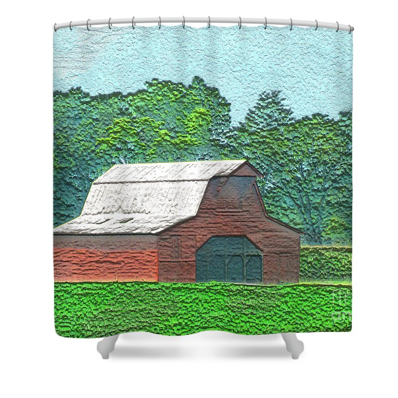 Arcitecture Shower Curtain featuring the digital art Classic Red Barn by Debbie Portwood