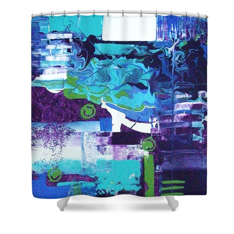 Abstract Shower Curtain featuring the painting Clear Cool Water by Charlotte Nunn