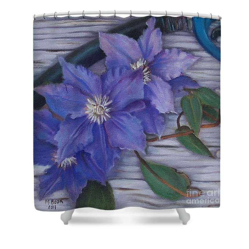 Still Life Shower Curtain featuring the painting Clematis by Marlene Book