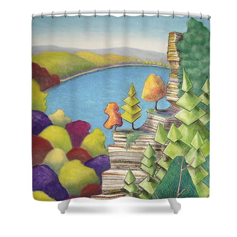 Cliff Shower Curtain featuring the mixed media Cliff Overlooking Lake With Colorful Trees by Michele Fritz