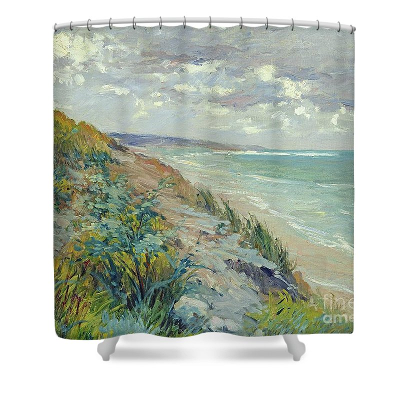 Beach Shower Curtain featuring the painting Cliffs by the sea at Trouville by Gustave Caillebotte