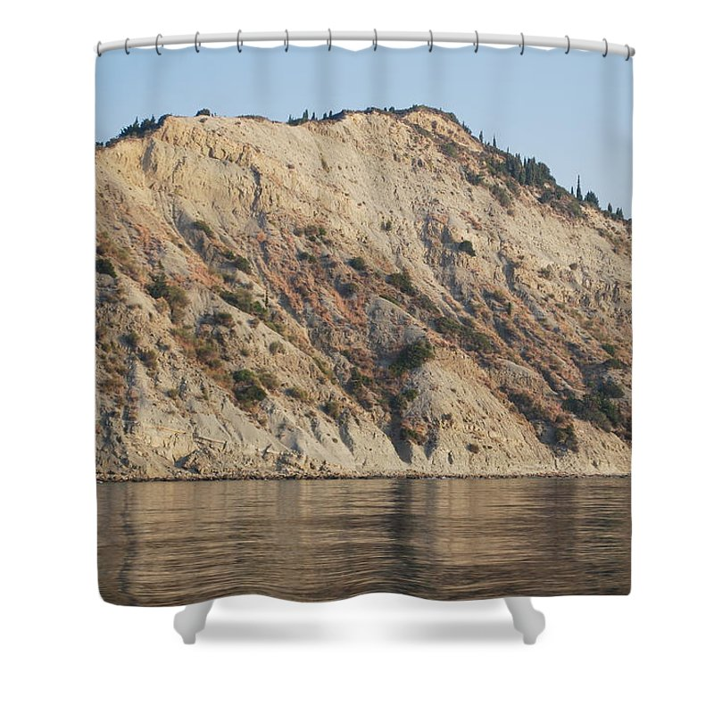Cliffs Shower Curtain featuring the photograph Cliffs Erikousa by George Katechis