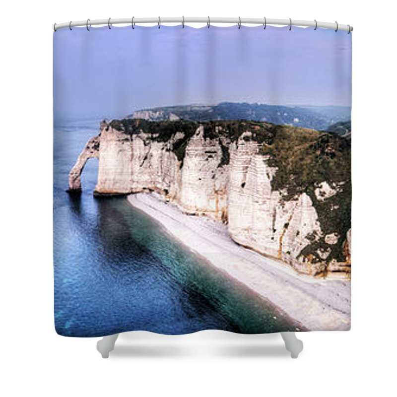 Cliff Shower Curtain featuring the photograph Cliffs Of Etretat 1 by Weston Westmoreland
