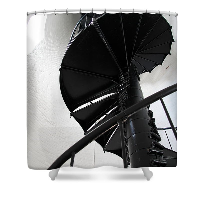 Lighhouse Stairs Shower Curtain featuring the photograph Climb Up To The Sky by Christiane Schulze Art And Photography