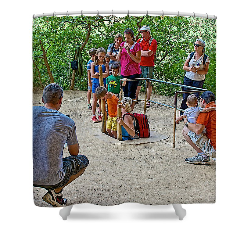 Climbing Down The Ladder Into A Kiva At Spruce Tree House On Chapin Mesa In Mesa Verde National Park Shower Curtain featuring the photograph Climbing Down The Ladder Into A Kiva At Spruce Tree House In Mesa Verde National Park-colorado by Ruth Hager