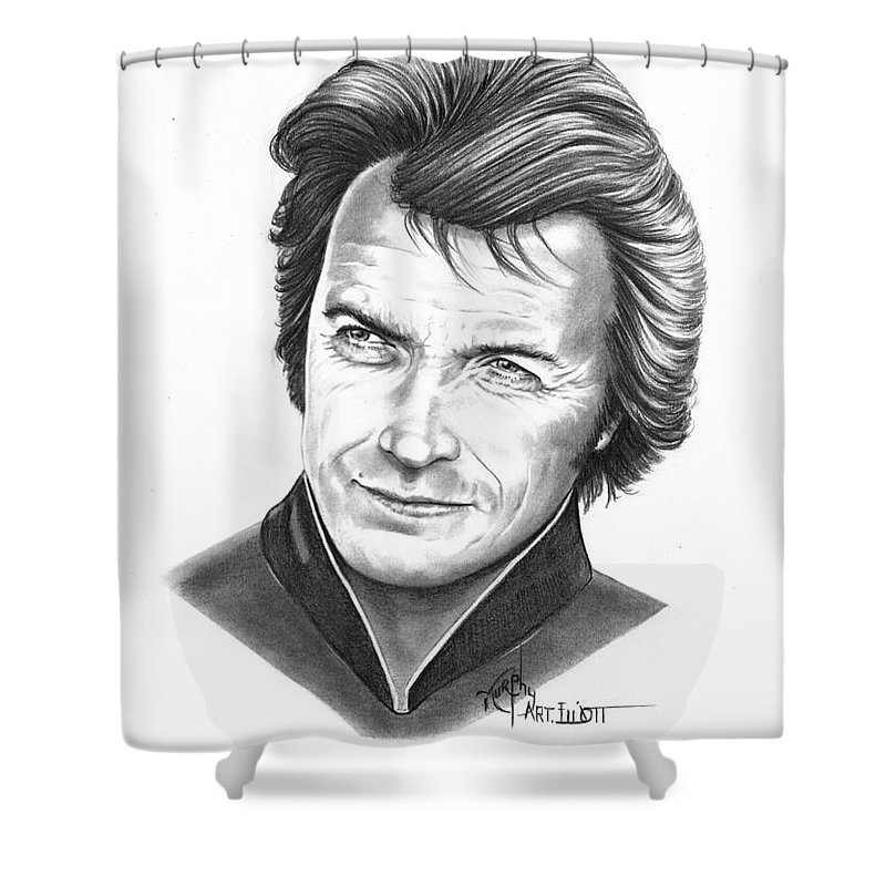 Portrait Shower Curtain featuring the drawing Clint Eastwood by Murphy Elliott