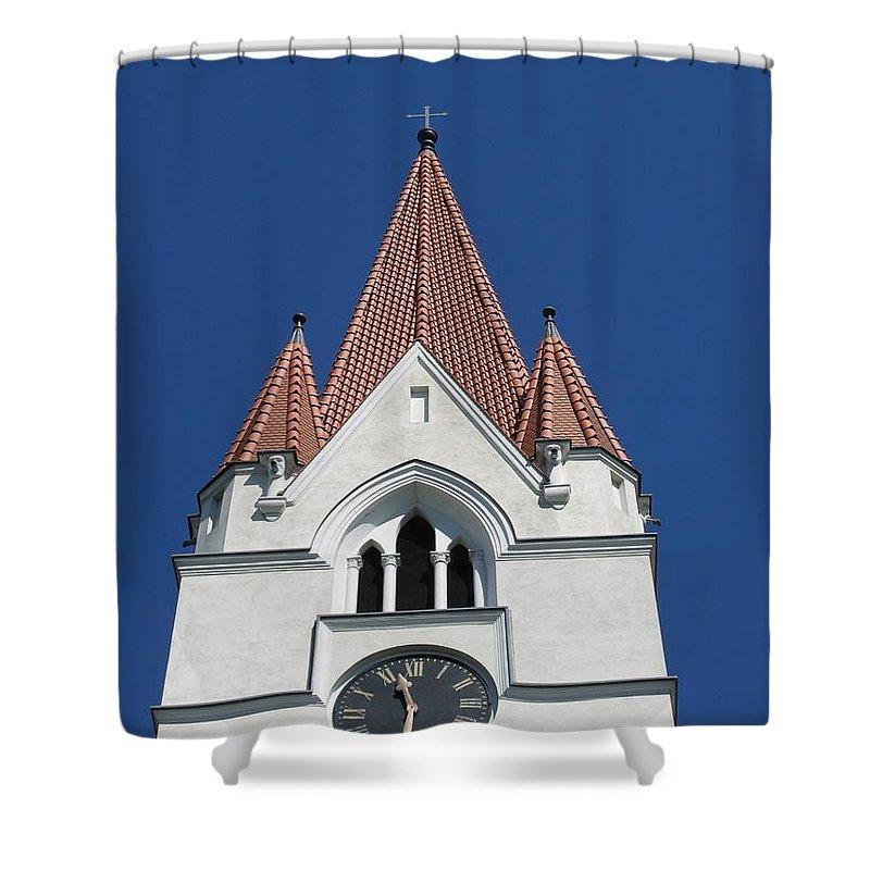 Clock Shower Curtain featuring the photograph Clock Tower. Evangelic Lutheran Church. Silute. Lithuania. by Ausra Huntington nee Paulauskaite