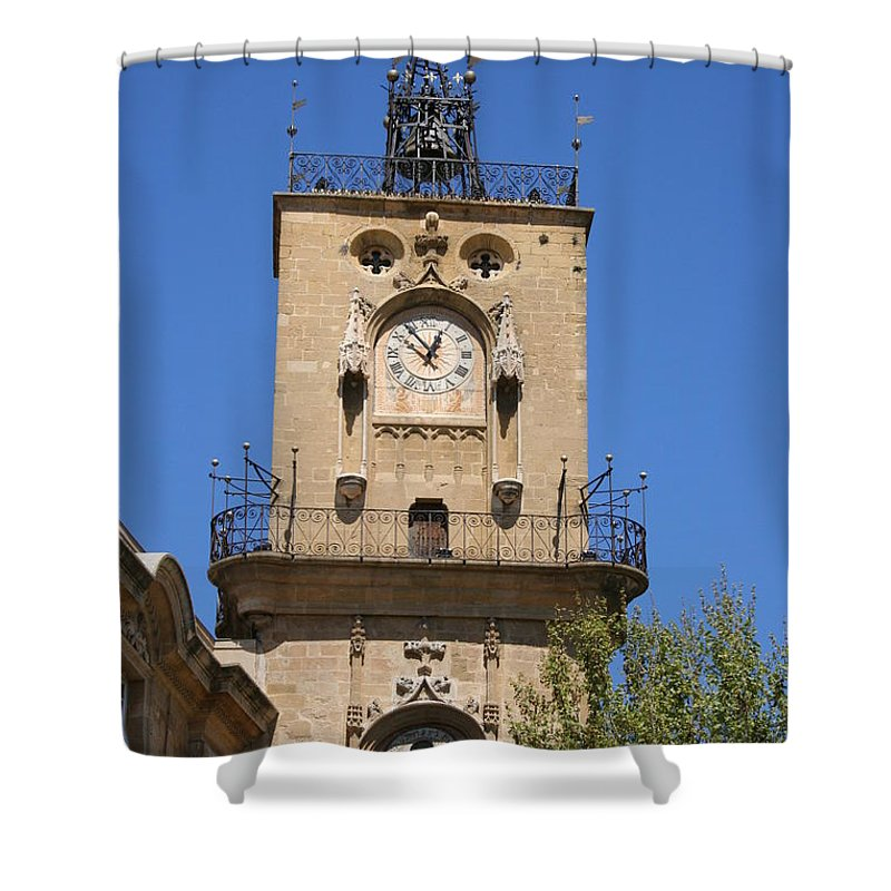 Clock Shower Curtain featuring the photograph Clocktower - Aix En Provence by Christiane Schulze Art And Photography