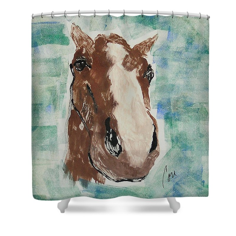 Horse Shower Curtain featuring the mixed media Close Up by Cori Solomon