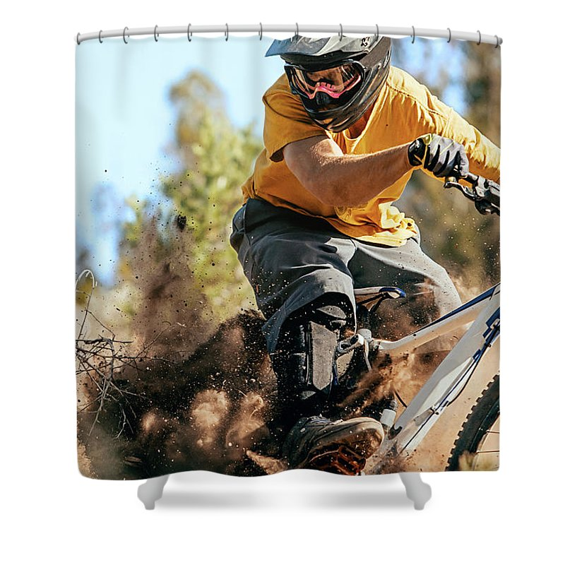 Headwear Shower Curtain featuring the photograph Close Up Of A Mountain Biker Ripping by Daniel Milchev