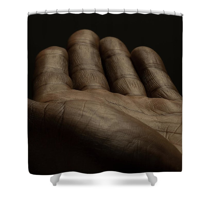 Empty Shower Curtain featuring the photograph Close Up Of An Open Male Hands, Dark by Jonathan Knowles