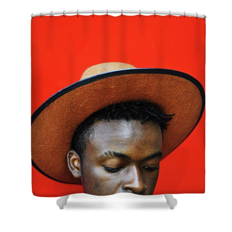 Young Men Shower Curtain featuring the photograph Close-up Of Man Wearing Hat Against Red by Samson Wamalwa / Eyeem