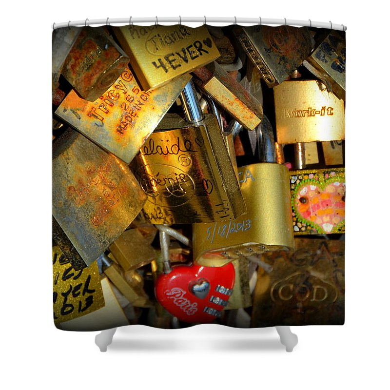 Locks Shower Curtain featuring the photograph Close Up Of Paris Locks Of Love by Carla Parris