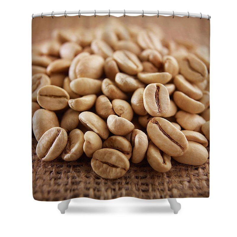 Heap Shower Curtain featuring the photograph Close Up Of Raw Coffee Beans by Adam Gault