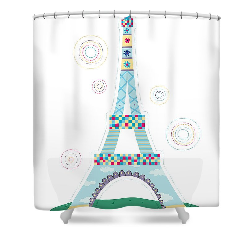 Event Shower Curtain featuring the digital art Close-up Of Tower by Eastnine Inc.