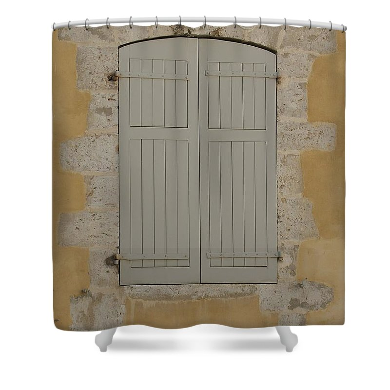 Window Shower Curtain featuring the photograph Closed Shutters by Christine Jepsen