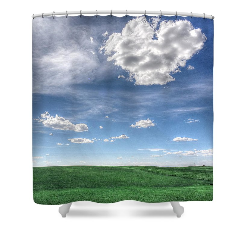 Heart-shaped Cloud Shower Curtain featuring the photograph Cloud Heart by Lanita Williams