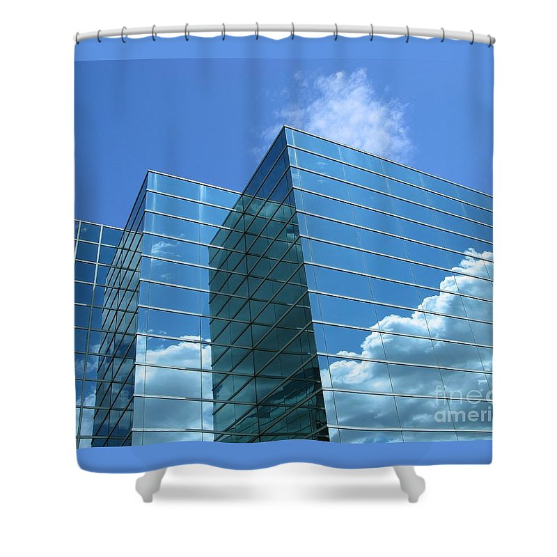 Building Shower Curtain featuring the photograph Cloud Mirror by Ann Horn
