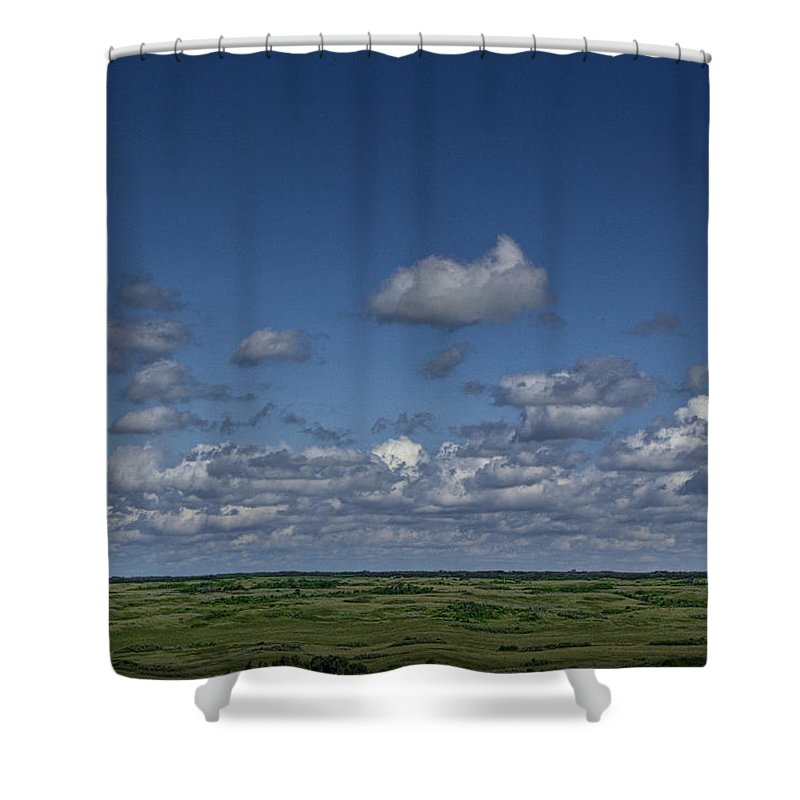 Field Shower Curtain featuring the photograph Clouds And Landscape In Alberta Canada by Randall Nyhof