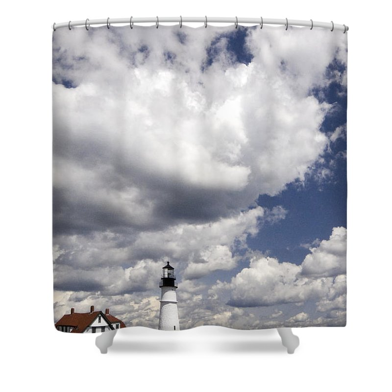 Lighthouse Shower Curtain featuring the photograph Clouds Of Glory - Portland Headlight by Paul Schreiber