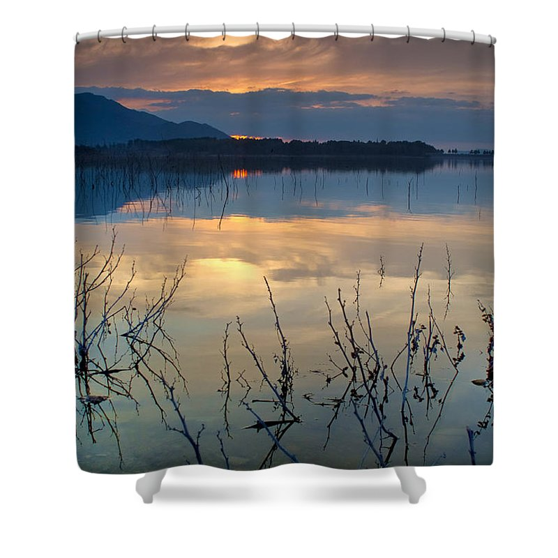 Sunset Shower Curtain featuring the photograph Clouds On The Pink Water by Guido Montanes Castillo