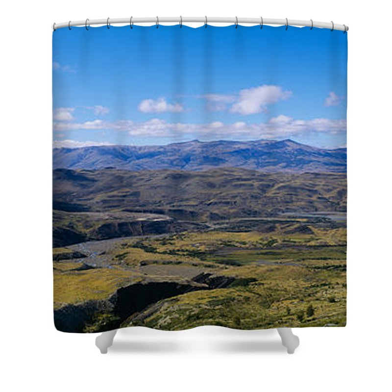 Photography Shower Curtain featuring the photograph Clouds Over A Mountain Range, Torres by Panoramic Images