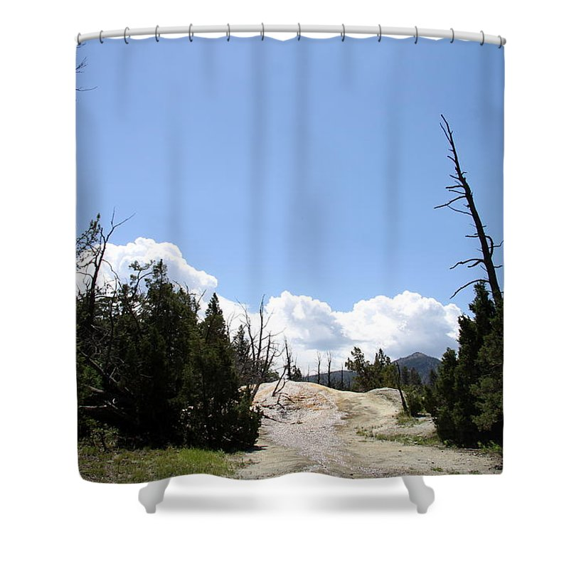 Mammoth Hot Spring Shower Curtain featuring the photograph Clouds Over Thermal Area by Christiane Schulze Art And Photography