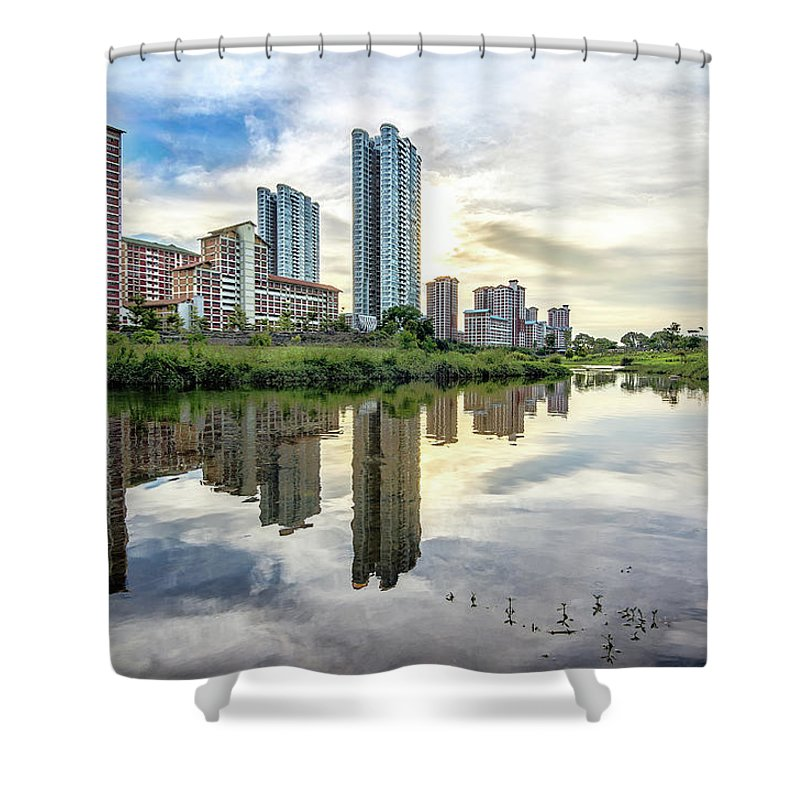 Standing Water Shower Curtain featuring the photograph Clover Reflections by Tia Photography