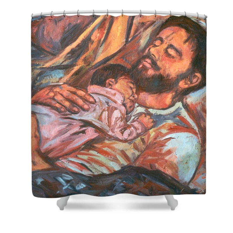 Figure Shower Curtain featuring the painting Clyde And Alan by Kendall Kessler