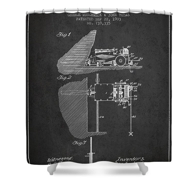 Mining Shower Curtain featuring the digital art Coal Mining Machine Patent From 1903- Charcoal by Aged Pixel