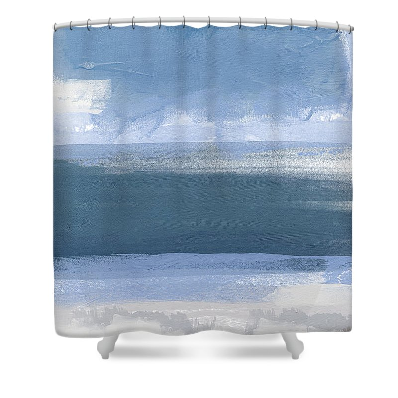 Coastal Shower Curtain featuring the painting Coastal- Abstract Landscape Painting by Linda Woods