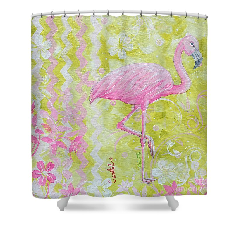 Coastal Decorative Pink Green Floral Chevron Pattern Art Flamingo ...