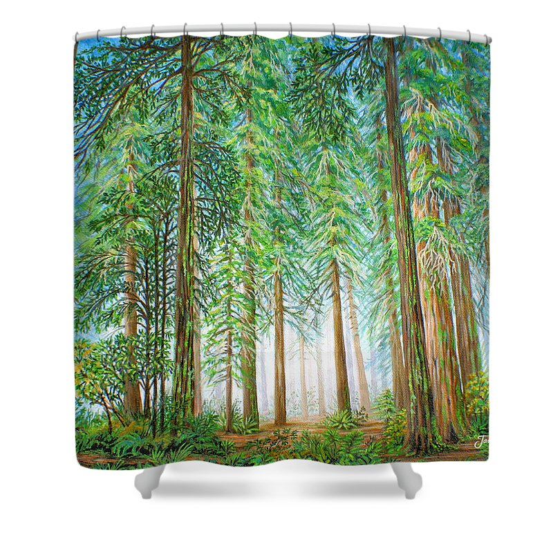 Trees Shower Curtain featuring the painting Coastal Redwoods by Jane Girardot